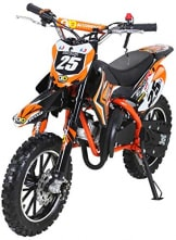 Actionbikes Motors Mini Kinder Crossbike Gepard 49 cc - Scheibenbremsen - Sportluftfilter - Sportauspuff - Luftbereifung (Orange) - 1